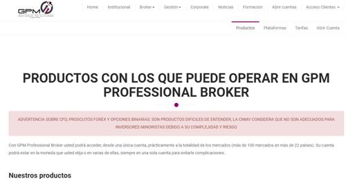 GPM Professional broker pagina web