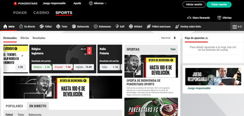 PokerStars Sports Página web